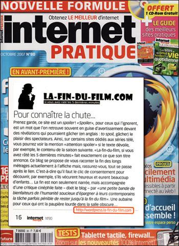 La fin du film dans internet pratique - octobre 2007